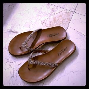 Sandals gold and silver beads